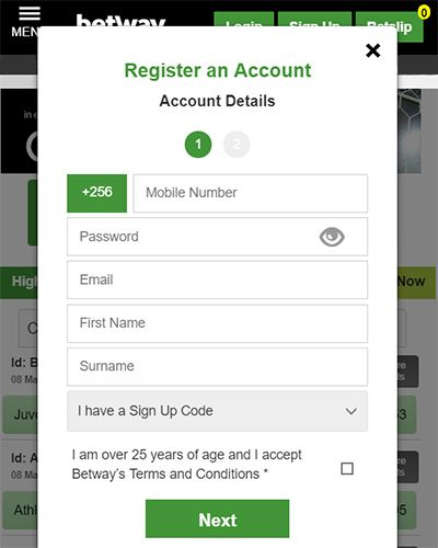 Registration in Betway app